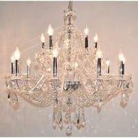 "Venetian Italian Style 15 Light Chrome Finish and Clear Crystal Chandelier Two 2 Tier Large 35"" x 31"""