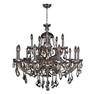 "Venetian Italian Style 15 Light Chrome Finish and Golden Teak Crystal Chandelier Two 2 Tier Large 35"" x 31"""