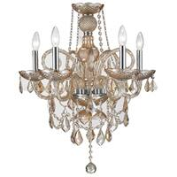 "Venetian Italian Style 5 Light Amber Crystal Candle Chandelier Medium D20"" x H22"""