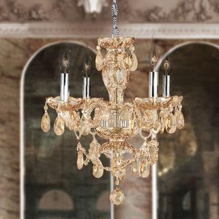 "Venetian Italian Style 4 Light Chrome Finish and Amber Crystal Chandelier Medium 17"" x 18"""