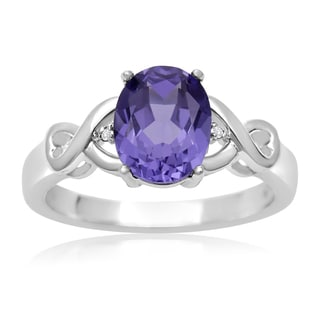 2 1/2 Carat Oval Shape Created Tanzanite and Diamond Ring