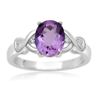 1 3/4 TGW Oval Shape Amethyst and Diamond Ring - Purple (More options available)
