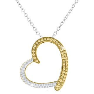Two Tone Crystal Heart Necklace In Sterling Silver, 18 Inches