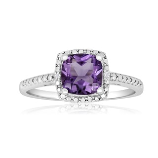1 3/4 TGW Cushion Cut Amethyst and Diamond Ring in Sterling Silver