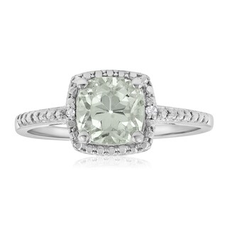 1 3/4 TGW Cushion Cut Green Amethyst and Diamond Ring in Sterling Silver