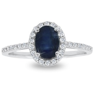 1 Carat Sapphire and Halo Diamond Ring In 14 Karat White Gold