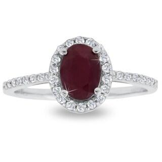 1 Carat Ruby and Halo Diamond Ring In 14 Karat White Gold
