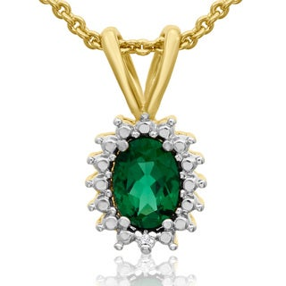 3/4 Carat Oval Shape Emerald and Halo Diamond Necklace In Gold Overlay, 18 Inches
