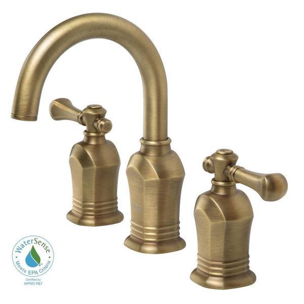 Shop Victorian Crystal Widespread Bathroom Faucet: Shop Verdanza Series 8-inch Widespread 2-Handle High Arc Bathroom Faucet In Antique Brass
