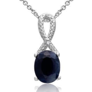 2 1/4 TGW Created Sapphire and Diamond Ribbon Necklace, 18 Inches