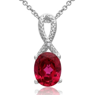 2 1/2 Carat Ruby and Diamond Ribbon Necklace, 18 Inches