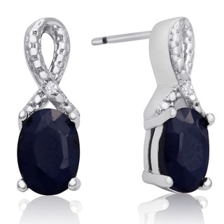 2 Carat Sapphire and Diamond Ribbon Stud Earrings