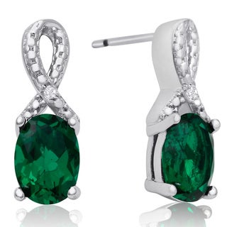 1 1/2 Carat Emerald and Diamond Ribbon Stud Earrings