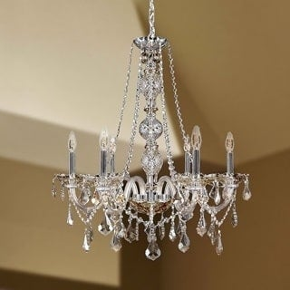 "Venetian Italian Style 6 Light Chrome Finish and Golden Teak Crystal Chandelier Large 24"" X 28"""