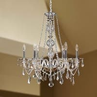 "Venetian Italian Style 6 Light Chrome Finish and Golden Teak Crystal Chandelier Large 24"" X 28"""