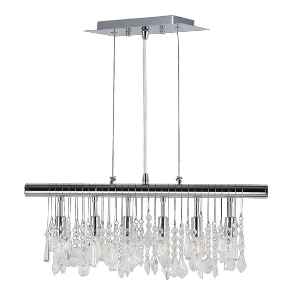 Sparkling Faceted Crystal 6 Light Kitchen Island Linear