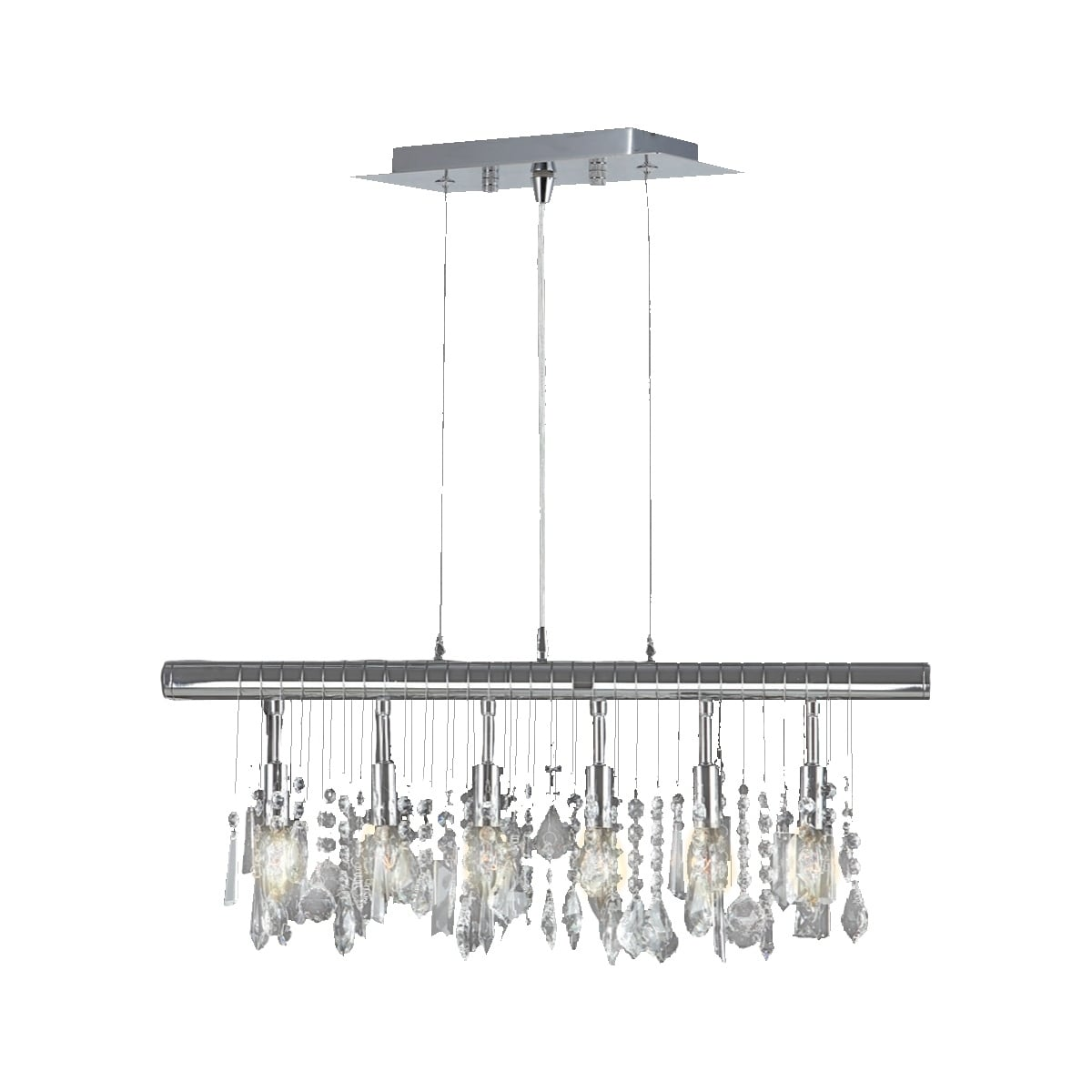 Sparkling Faceted Crystal 6 Light Kitchen Island Linear Pendant Large 24 In Wide On Sale Overstock 10791373