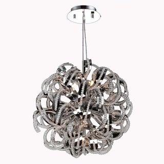 Ribbon Style 9 Light Chrome Finish Crystal Pendant 20-inch Medium Round Suspension Chandelier
