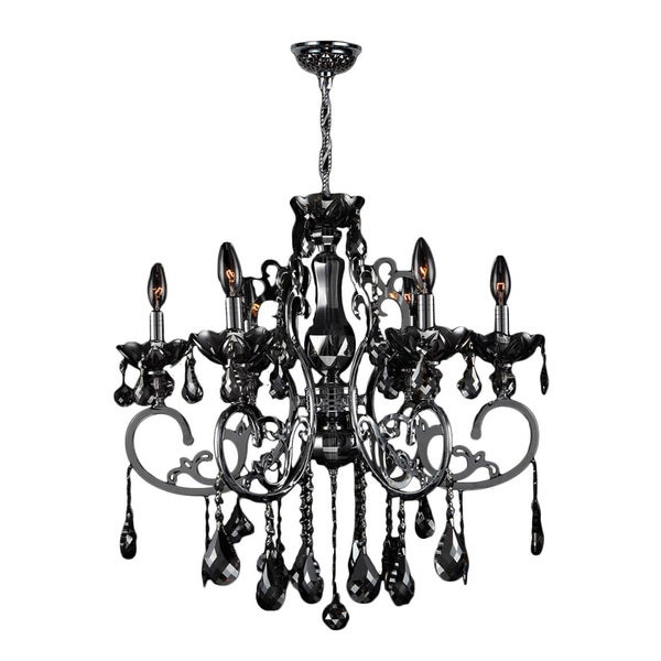 French Scroll Collection 6 Light Chrome Finish And Black Crystal Chandelier Large 26