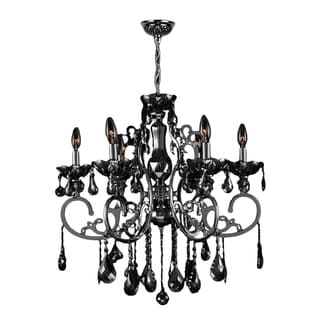 "French Scroll Collection 6 Light Chrome Finish and Black Crystal Chandelier Large 26"" x 24"""