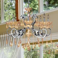 """French Scroll 8 Light Chrome Finish and Amber Crystal Chandelier Large D30"""" x H26"""""""