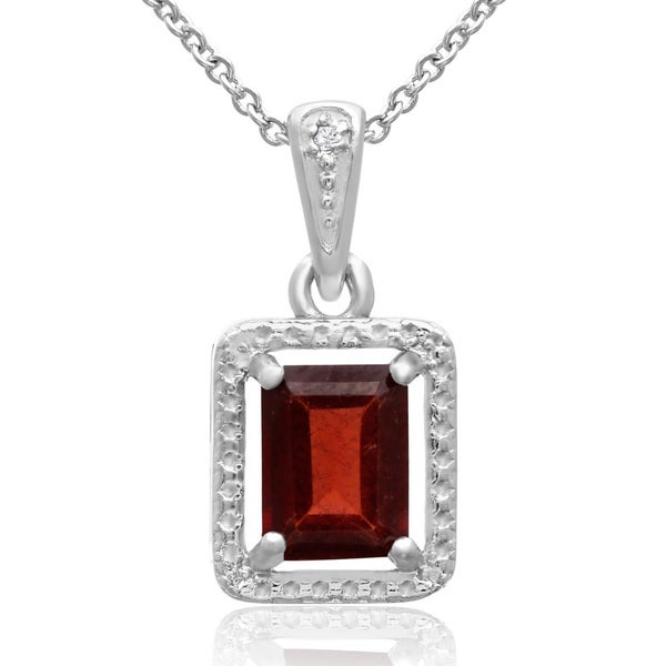 1 3/4 TGW Emerald Shape Garnet and Halo Diamond Necklace, 18 Inches