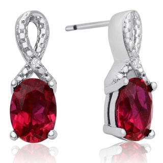 1 1/2 Carat Ruby and Diamond Ribbon Stud Earrings