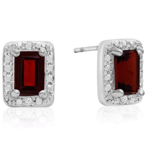 1 1/2 TGW Emerald Shape Garnet and Halo Diamond Earrings - Burgundy