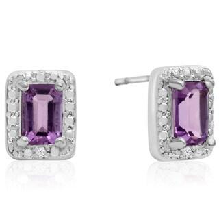 1 TGW Emerald Shape Amethyst and Halo Diamond Earrings