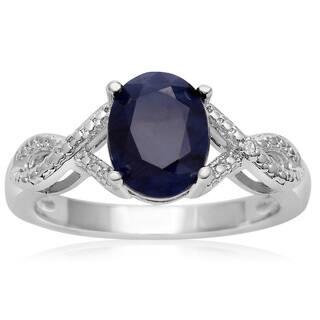 2 1/4 TGW Oval Shape Created Sapphire and Diamond Ribbon Ring - Blue|https://ak1.ostkcdn.com/images/products/10791396/P17838716.jpg?impolicy=medium