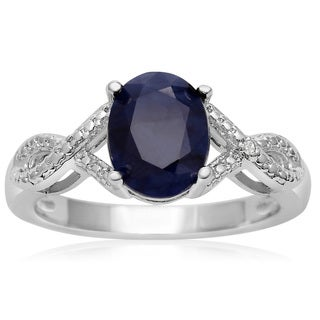 2 1/4 TGW Oval Shape Created Sapphire and Diamond Ribbon Ring - Blue (More options available)