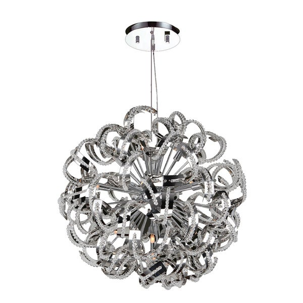 Ribbon Style 13 Light Chrome Finish Crystal Pendant Suspension Chandelier Large 24u0026quot; Round - Free ...