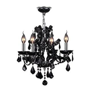 "Maria Theresa 4 Light Chrome Finish and Black Crystal Glam Chandelier Medium 19"" x 18"""