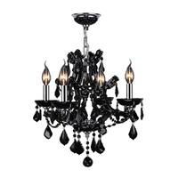 "Maria Theresa 4 Light Chrome Finish and Black Crystal Glam Chandelier Medium 19"" x 18"""
