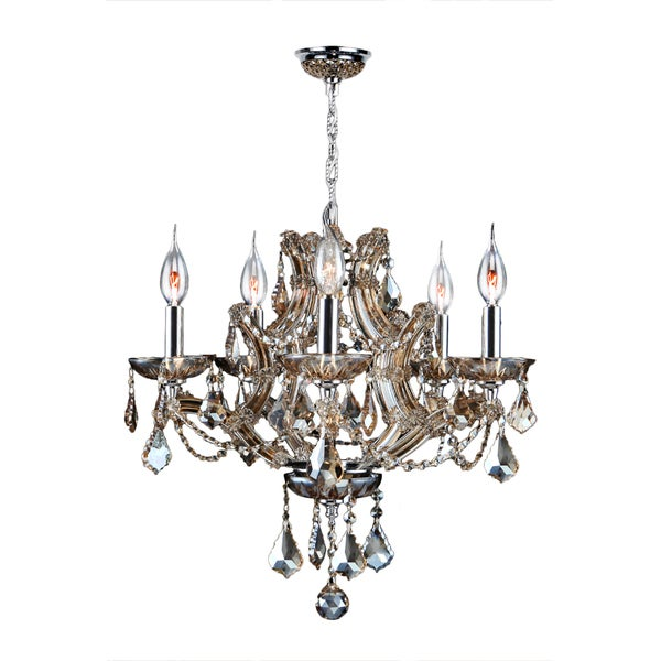 Maria Theresa 5 Light Golden Teak Crystal Glam Chandelier Medium 19 in. W x 18 in. H Medium - Champagne