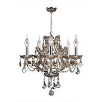 "Maria Theresa 5 Light Chrome Finish and Golden Teak Crystal Glam Chandelier Medium 19"" x 18"""