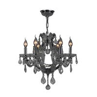 Maria Theresa 6-light Chrome Finish and Smoke Crystal Medium 20 x 19-inch Glam Chandelier