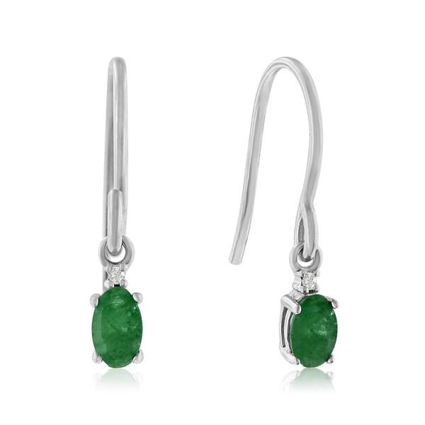 1/2 TGW Oval Emerald and Diamond Earrings in Sterling Silver