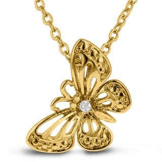 Diamond Accent Butterfly Necklace, 18 Inches, Gold Overlay