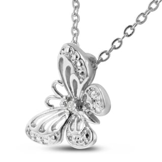 Diamond Accent Butterfly Necklace, 18 Inches, Platinum Overlay
