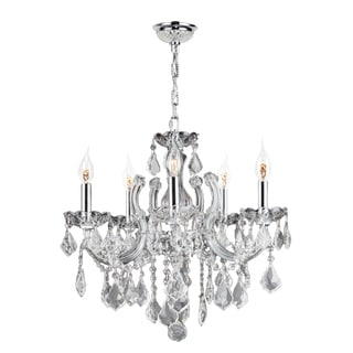 Maria Theresa 5-light Chrome Finish and Clear Crystal Medium 18 x 18-inch Glam Chandelier