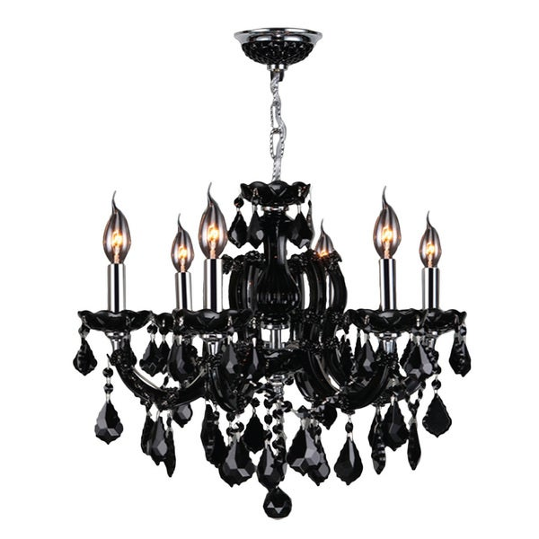 "Maria Theresa 6 Light Chrome Finish and Black Crystal Glam Chandelier Medium 20"" x 20"""