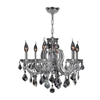 "Maria Theresa 6 Light Chrome Finish and Clear Crystal Glam Chandelier Medium 20"" x 20"""