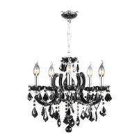 "Maria Theresa 8 Light Chrome Finish and Black Crystal Glam Chandelier Medium 22"" x 22"""