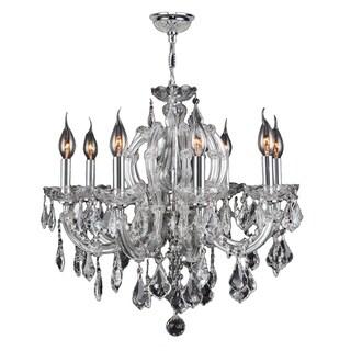 "Maria Theresa 8 Light Chrome Finish and Clear Crystal Glam Chandelier Medium 22"" x 22"""