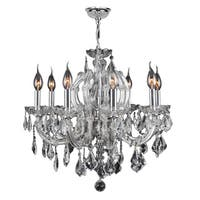 "Maria Theresa 8 Light Chrome Finish and Clear Crystal Glam Chandelier Medium 22"" x 22"""
