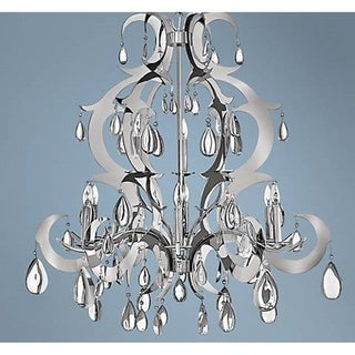 "High Gloss Polished Chrome FInish 9 Light Crystal Glam Chandelier Large 24"" x 25"""
