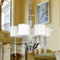 "Elegant 6 Light Chrome Finish Crystal Chandelier with White Fabric Shade Medium 22"" x 23"""