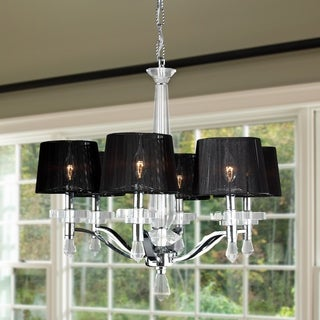 "Elegant 6 Light Chrome Finish Crystal Chandelier with Black String Shade Large 26"" x 26"""