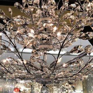 "Floral Orchid 26 Light Chrome Finish and Clear Crystal Chandelier Four 4 Tier Large 42"" x 50"